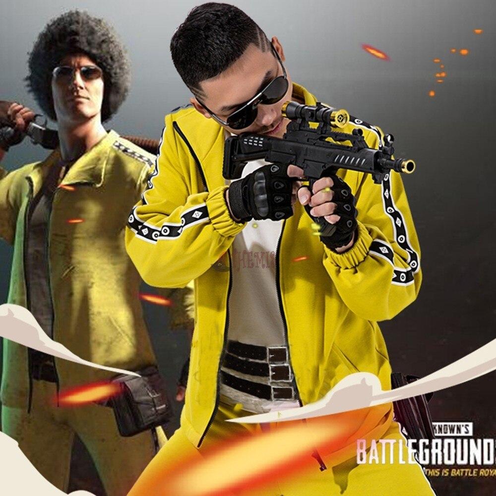 Athemis PUBG Battlegrounds Cosplay Costume Coat Yellow Sportswear Suits Jacket High Quality Full size