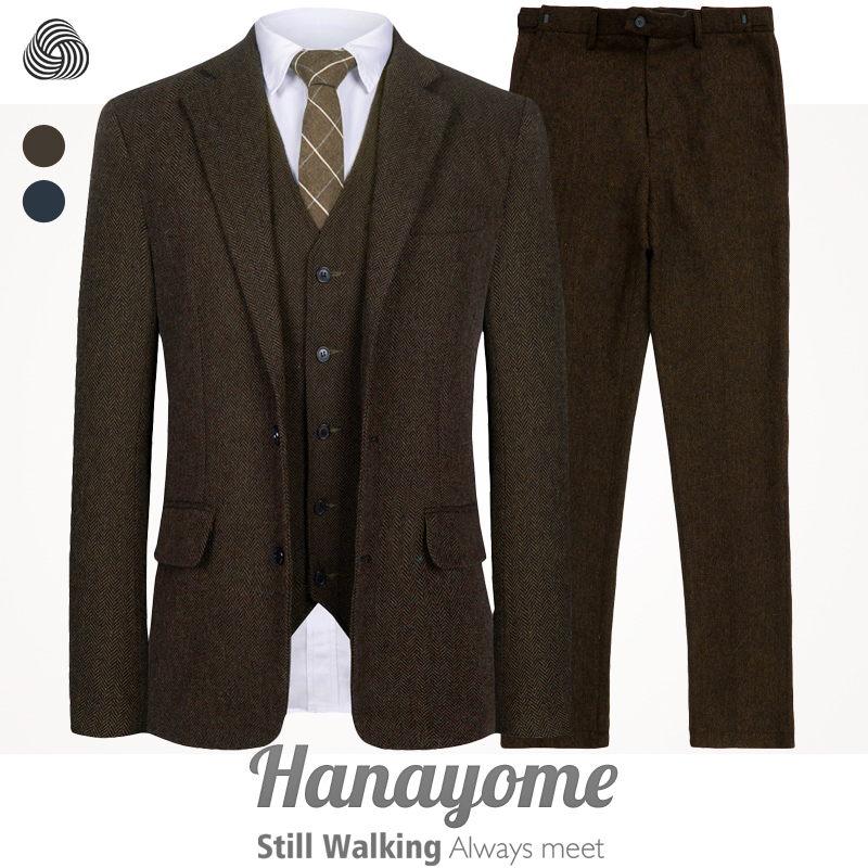 Senior Custom Woolen brown Herringbone Tweed Run men wedding suit British style Mens suit tailored plus size Blazer suit