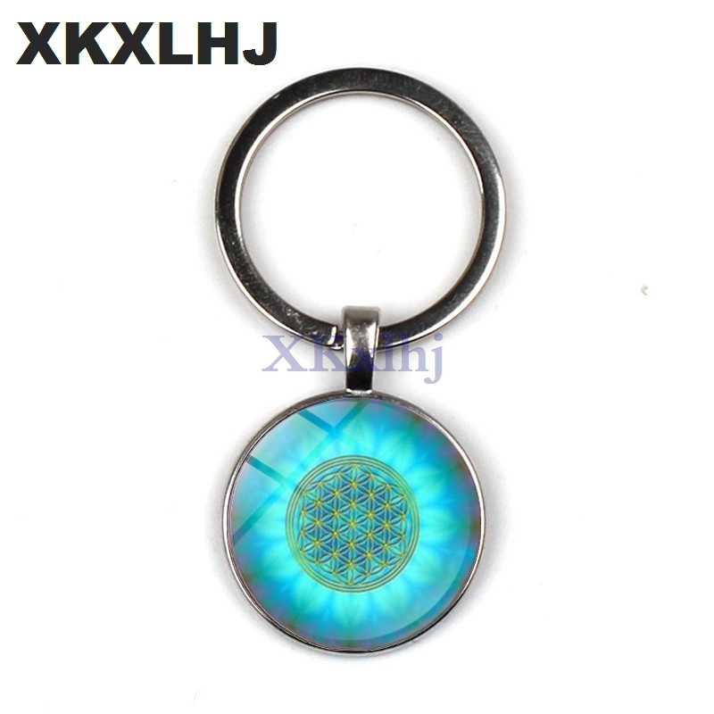 XKXLHJ nueva Mandala flor azul de llavero de vida colgante artístico de cristal geometría sacra lindo llavero joya de regalo