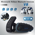 Casco de la motocicleta de Bluetooth Intercom Walkie Talkie Interphone 5 Jinetes de V8 Con FM NFC Auricular Remoto Para Esquí Casco de Ciclo