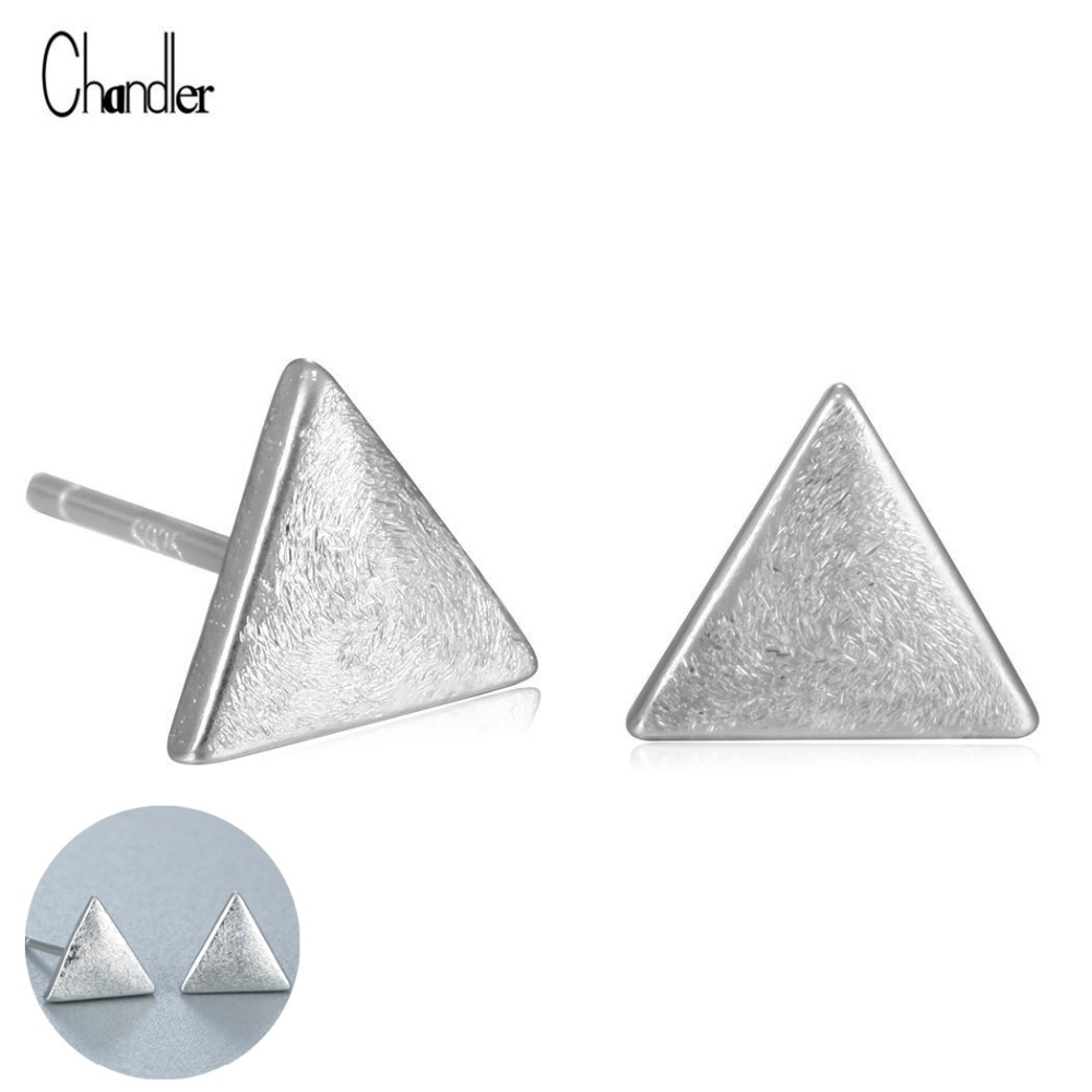 Silver Little Tiny Plat Triangle Piercing Stud Earrings 925 Sterling Surgical Pin Earlobe Accessaries For Women Birthday Gifts In Stud Earrings From