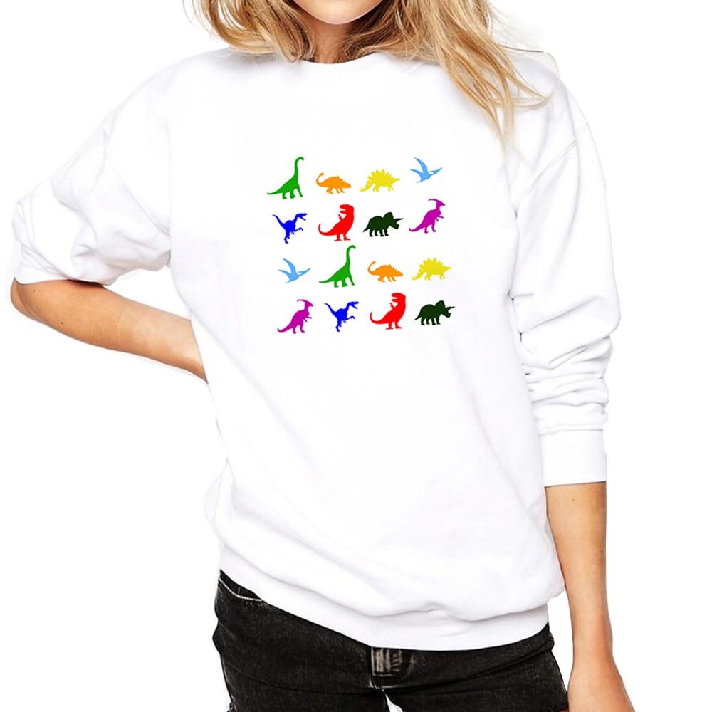 Top Brand Cartoon Women Sweatshirt Fun Dinosaur Pattern Hoodies Anime 3d Printer Womans Pullover Harajuku Fashion Print Clothes