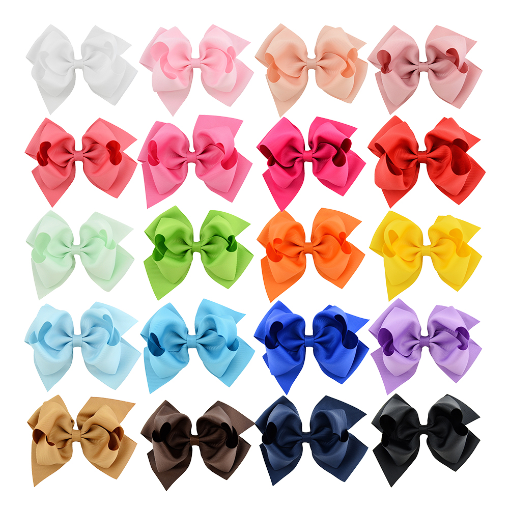 6 Inch Big Double Stacked Hair Bows Clips Candy Solid Layered Hairbow Handmade Grosgrain Ribbon Hairclips Girls Hair Accessories