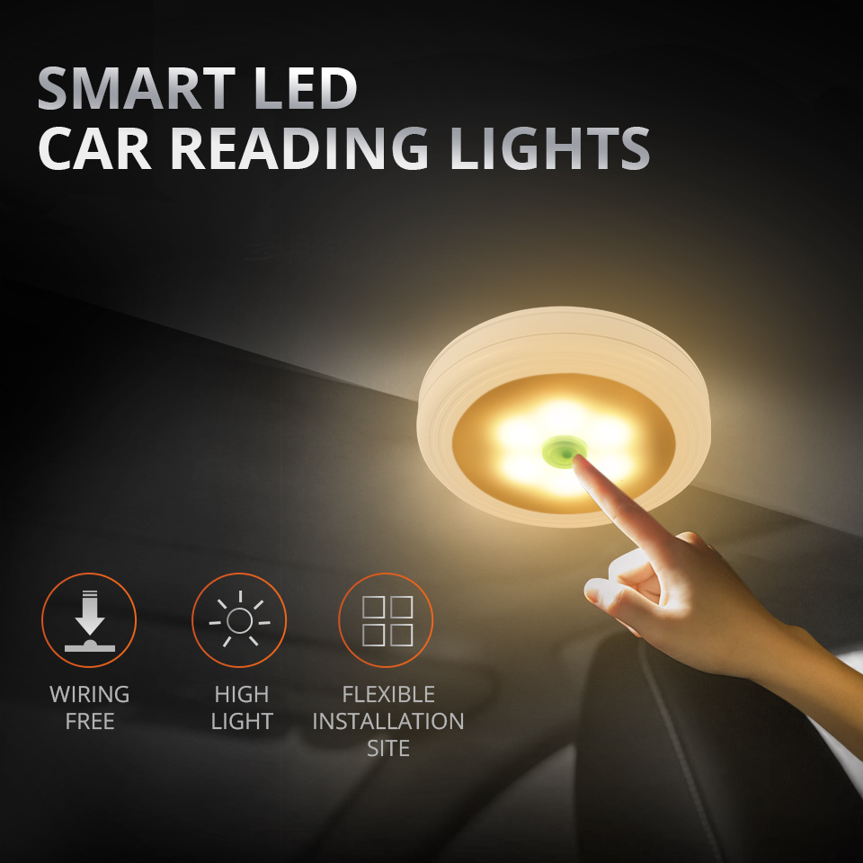 Automobile Portable UFO LED Car Reading Lamp Yellow/White Light Vehicle Inside Mini Book Light For Bedroom Closet Cabin