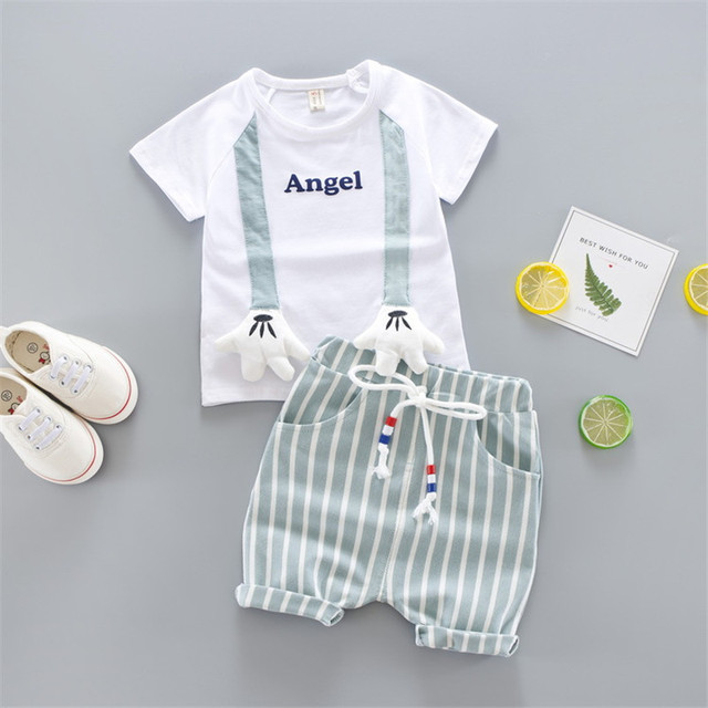 """2-Piece Cute Letter Print """"Angle"""" Top with Striped Pants Set for Baby / Toddler"""