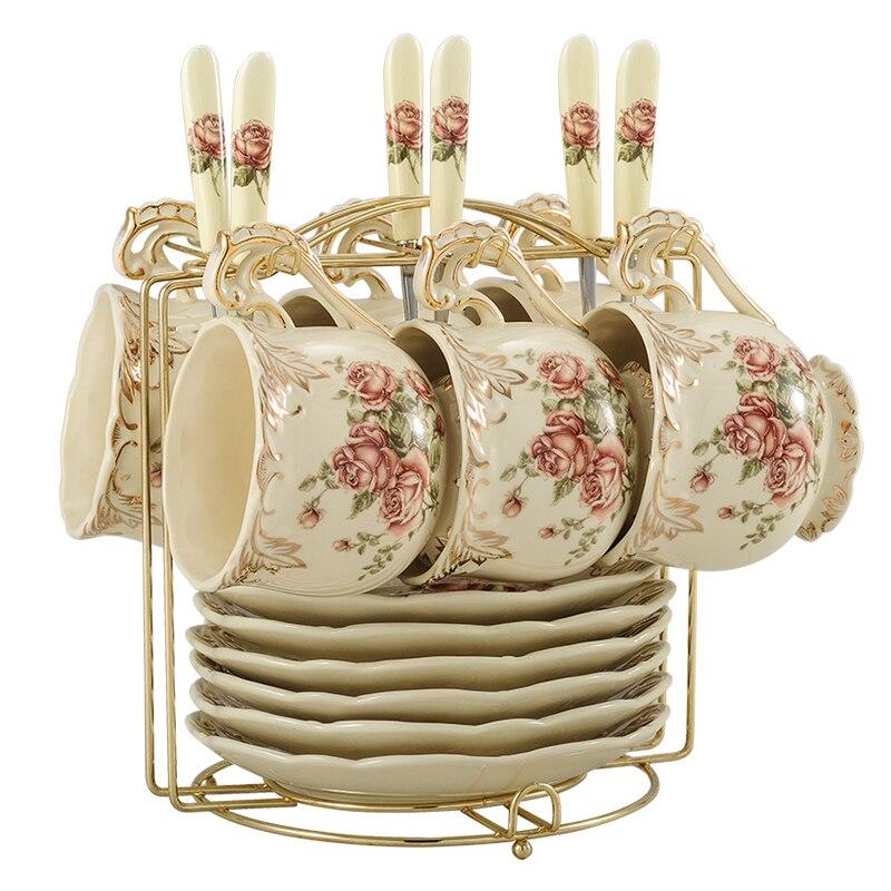 Creative European Porcelain Coffee Cups Set China Chinese Wedding Tea Set Home Decoration Accessories 4
