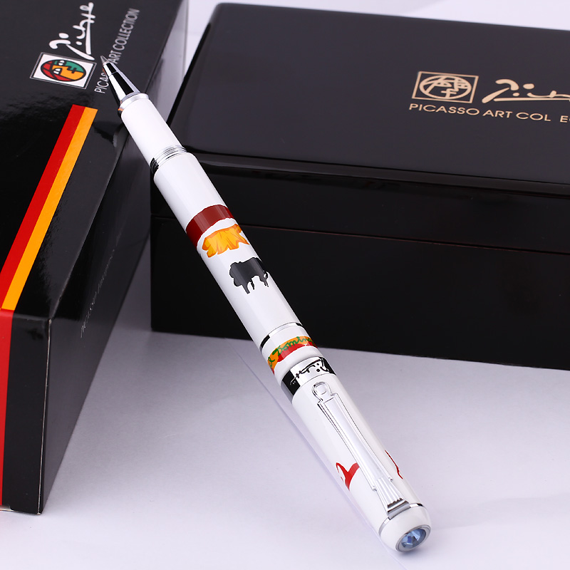 Picasso Pimio 929 White Matador and Silver Clip 0.7mm Black Ink Refill Roller Ball Pen with Gem on The Top Ballpoint Gift Pens