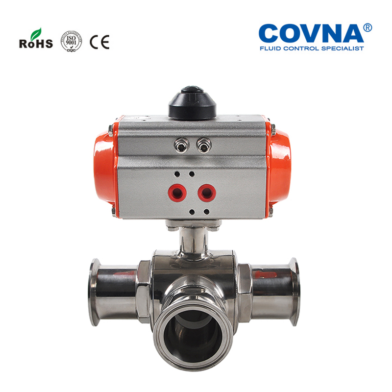 Sanitary 3 Ways 1 1 2 Pneumatic Clamp Ball Valve Double Acting SS304 PTFE Seat L