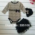 Рождения девочки одежда леопард 3 шт. костюм : комбинезон + юбки платье + повязка на голову ( шляпа ) мода дети детской одежды устанавливает