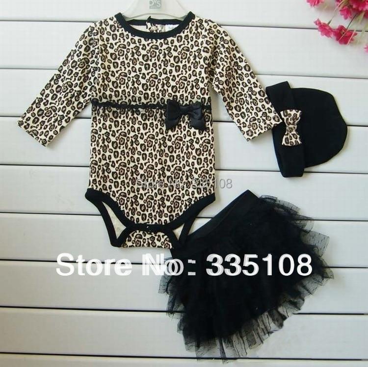 New Born Baby Girl Clothes leopard 3pcs Suit:Rompers + Tutu Skirt Dress+Headband(hat) Fashion Kids Infant Clothing Sets