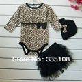 New Born Baby Girl Clothes leopard 3pcs Suit:Rompers + Tutu Skirt Dress+Headband(hat) Fashion Kids Infant Clothing Sets