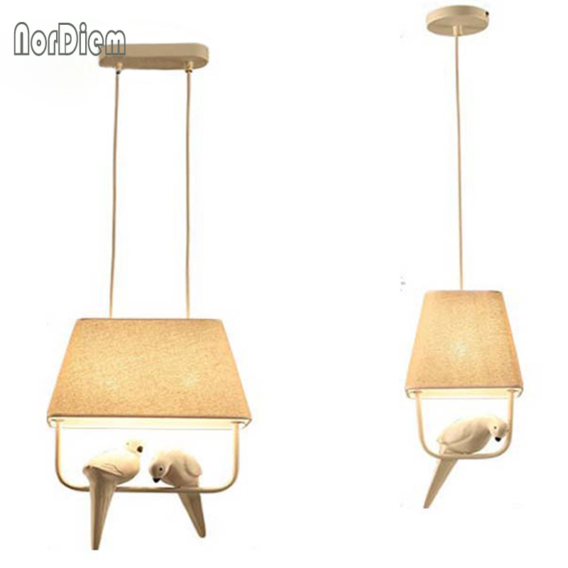 Nordic Birds Pendant Lights Modern Resin Bird Lamp with Fabric Lampshade for kitchen home lighting dining room kids bedroom Lamp modern home decoration bird pendant lights for dining room bar bedroom cloth iron country style pendant lamp lighting fixture