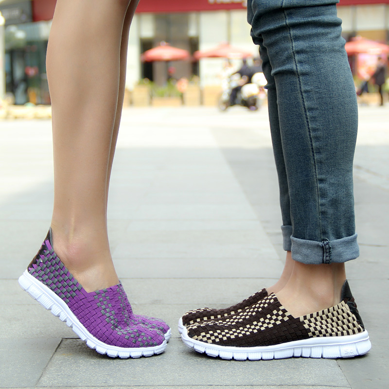2017 Summer Breathable Shoes Women Couple Casual Woven Shoes Beach Slip on Ladies Loafer Flats Comfortable Flats Shoes Size35-40 spring summer women flat ol party shoes pointed toe slip on flats ladies loafer shoes comfortable single casual flats size 34 41