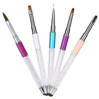 5 Adet/takım Çift Kafalı Tırnak Sanat Boyama Kalemler Fırçalar Aracı Set Akrilik Kristal Manikür Liner Çizim Kalemler + Dokunmatik ekran Fonksiyonu