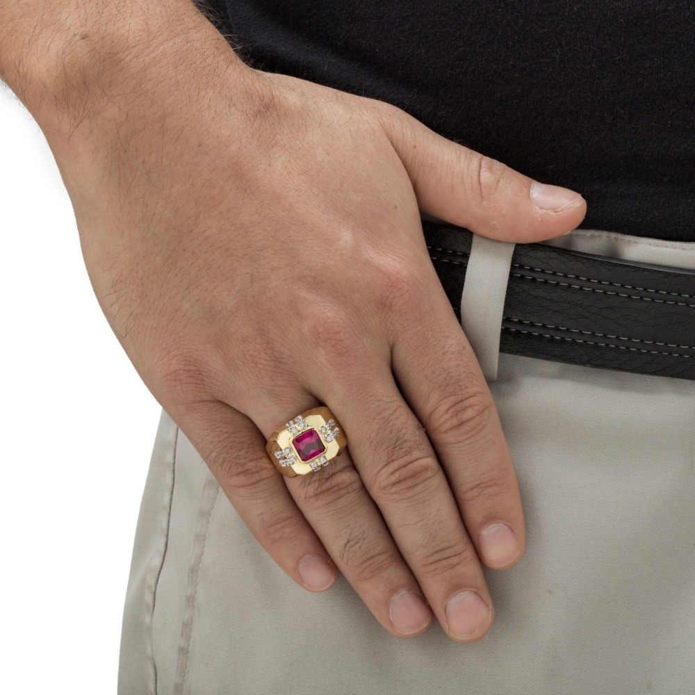 3.6CTขนาด8-15เครื่องประดับสีแดง,น้ำเงิน/โกเมนเพทายหิน10KTทองที่เต็มไปแหวนของมนุษย์ของขวัญแต่งงาน