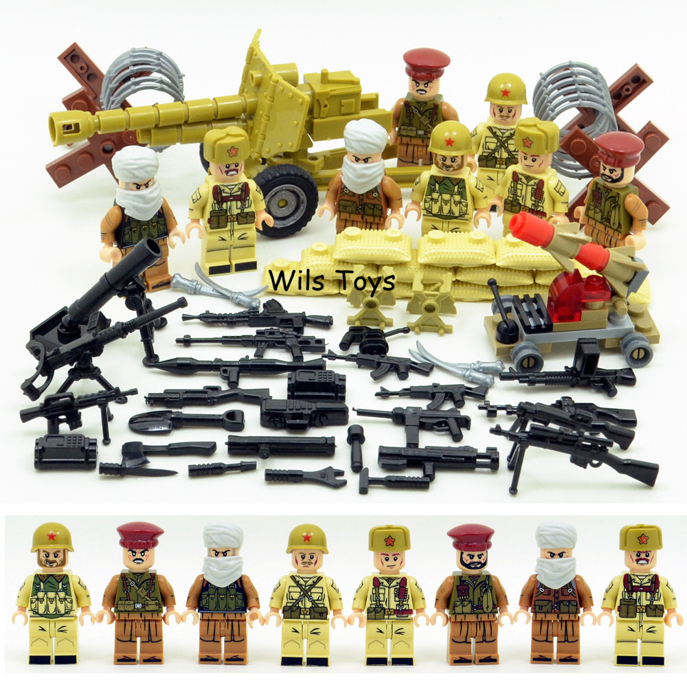 4 in 1 Afghan Army WW2 Russian Military Soviets Soldier SWAT Special Forces Building Blocks Bricks Figures Boy Toy Gift Children new model 340pcs military helicopter special forces war building blocks set army soldiers figures bricks toy for lepins children