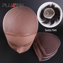 Plussign Red con patrón de encaje suizo para hacer pelucas, tupé, cierre superior, accesorios para el cabello, monofilamento, peluca de media gorra