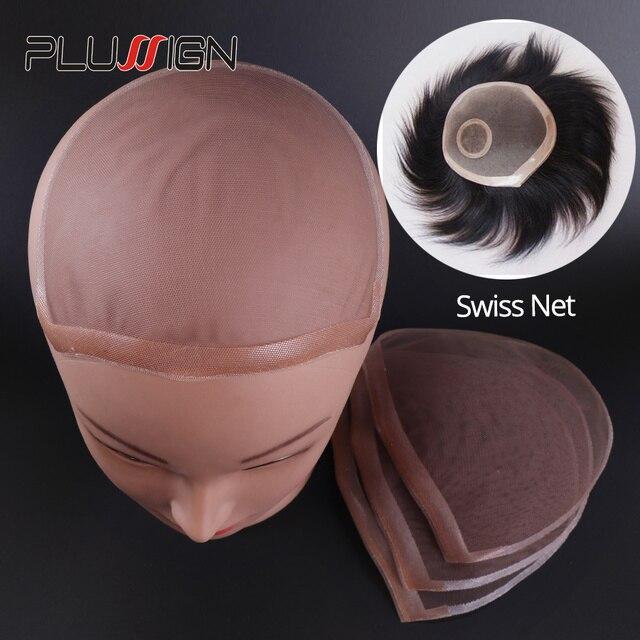 Plussign swiss laço padrão net para fazer peruca toupee fechamento superior fundação acessórios de cabelo monofilamento estocagem peruca boné