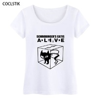100 Cotton Womens Summer Schrodingers Cat The Big Bang Theory T Shirt Female Fitness Casual Short