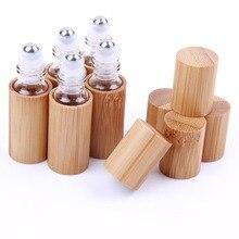 6 x пустых бамбуковых крышек из нержавеющей стали, роликовые бутылки, стекло для эфирных масел, жидкие портативные многоразовые баночки 5 мл