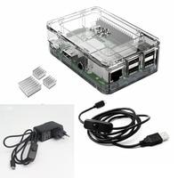 Elecrow Raspberry Pi 3 Kits 4 In 1 Clear Case EU Plug Power 2pcs Heatsinks And