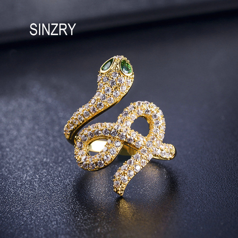 SINZRY 2018 unique design Flashing Cubic zironia snake finger ring New Fashion CZ adjustable Ring for Women