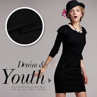 135cm wide dg baroque style black knitted cotton fabric for clothes dress