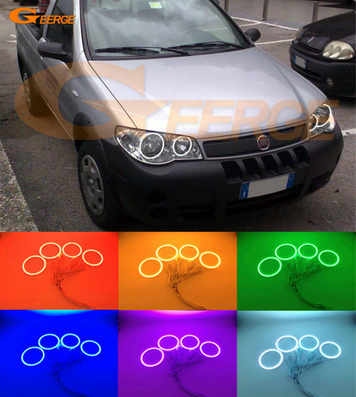 For Fiat Strada III 2006 2007 2008 2009 2010 Excellent Multi-Color Ultra bright RGB led Angel Eyes kit Halo Rings for alfa romeo 147 2005 2006 2007 2008 2009 2010 headlight ultra bright illumination cob led angel eyes kit halo rings