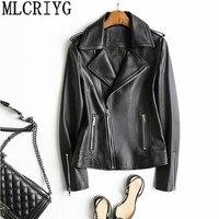 Для женщин натуральной кожи куртка мотоцикла короткие натуральной овчины пальто Демисезонный реального Кожаные куртки cuero genuino YQ243