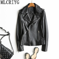 Women Genuine Leather Jacket Motorcycle Short Natural Sheepskin Coats Spring Autumn Real Leather Jackets cuero genuino YQ243