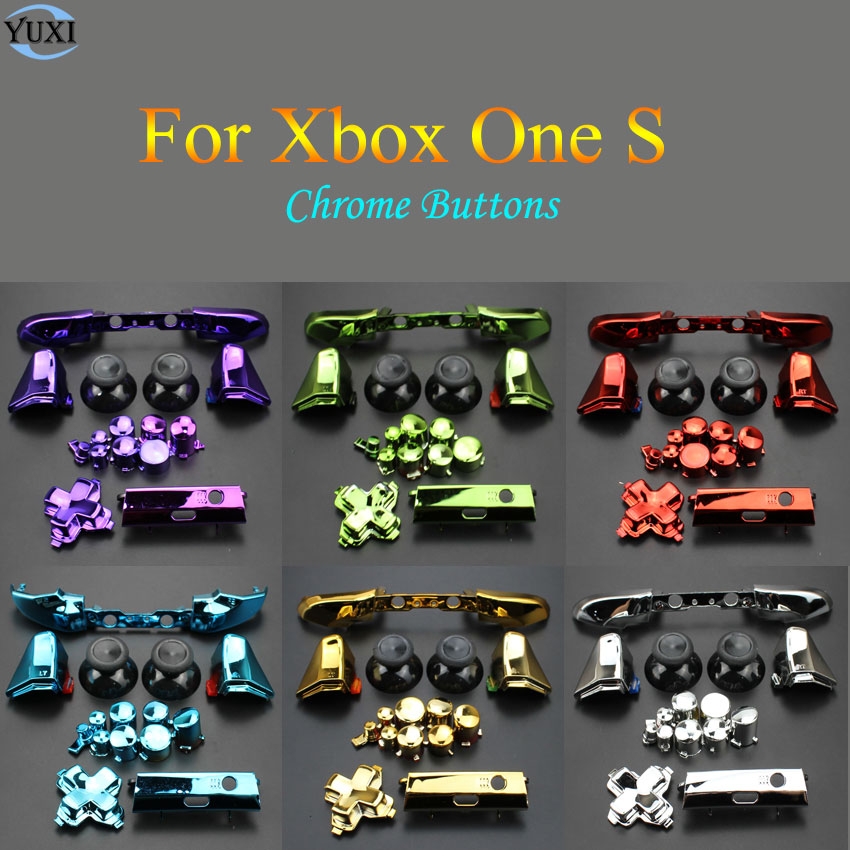 YuXi Replacement Part Repair Chrome ABXY Dpad Triggers Full Buttons Set Kits Controller Mod For Xbox One S XboxOne S