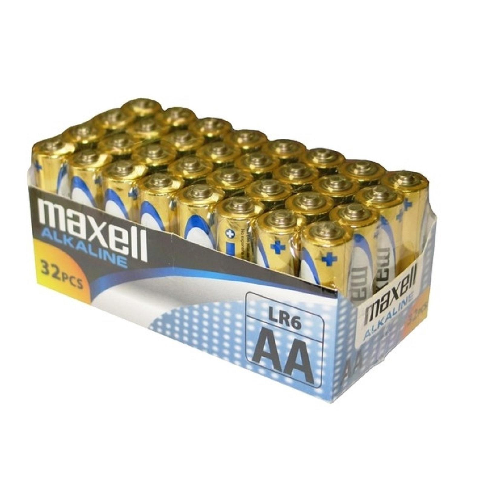 Pilas Tipo AA Alcalina Maxell bateria original LR6 en blister 32X Unidades