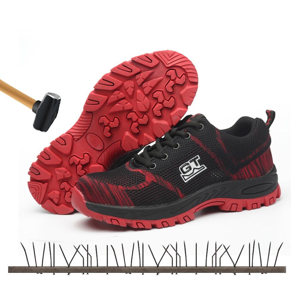 Dos Botas Homens Da B De A Aço type Anti No Impacto Type Segurança slip Red Sapatos Ao Moda Black type type Red Trabalho Femininos Resistência 2019 Malha Biqueira Protecção Blue Respirável rEOqEn