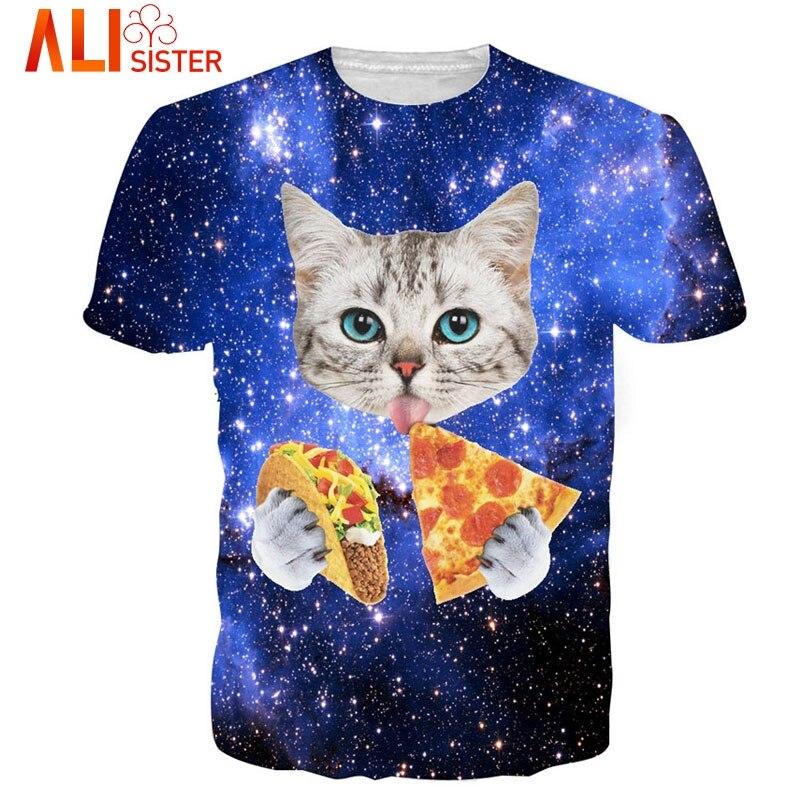 New Fashion Cat T Shirt 3d Printed Blue/red Galaxy Tee Shirt Casual Animal T-shirt Men/women Funny Tshirt Homme Unisex Clothing