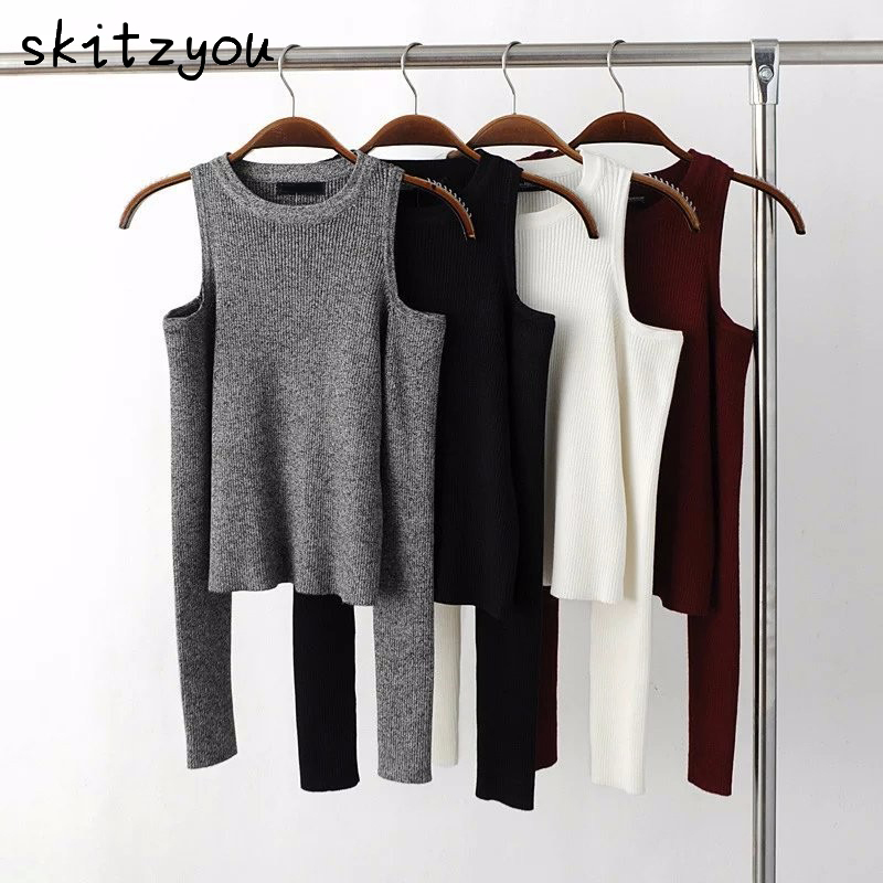 skitzyou Autumn Women Knitted Long Sleeve Black Off Shoulder Thin Sweater Tops White Sexy Gray Bodycon