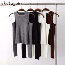 skitzyou Autumn Women Knitted Long Sleeve Black Off Shoulder Thin Sweater Tops White Sexy Gray Bodycon Winter O Neck Pullovers