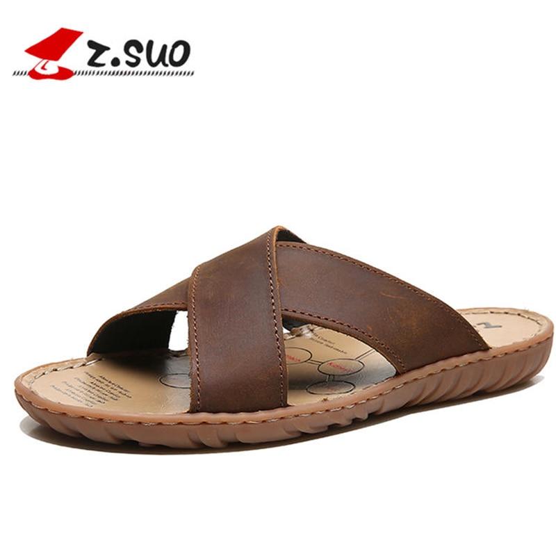 ZSUO/бренд 2018, летние мужские шлепанцы из натуральной кожи с перекрестными ремешками, пляжная обувь высокого качества, большие размеры 38-47, ко...