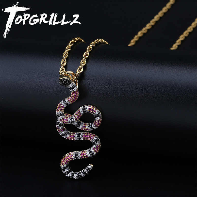 TOPGRILLZ AAA Iced Out Coral Snake จี้งูจี้สร้อยคอทองแดงที่มีสีสัน Zirconia Hip Hop แฟชั่นเครื่องประดับ Dropshipping