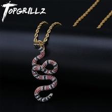 TOPGRILLZ AAA buzlu mercan yılan kolye yılan kolye kolye bakır renkli zirkonya Hip Hop moda takı Dropshipping