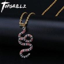 Topgrillz aaa iced para fora coral cobra pingente pingente colar de cobre colorido zircônia hip hop moda jóias dropshipping
