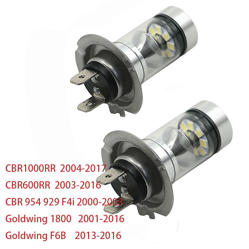 H7 LED Headlight Bulb White For Honda CBR600RR 03-16 CBR1000RR 04-17 Goldwing 1800 GL1800 01-16 CBR 954 929 F4i 00-03 F6B 13-16
