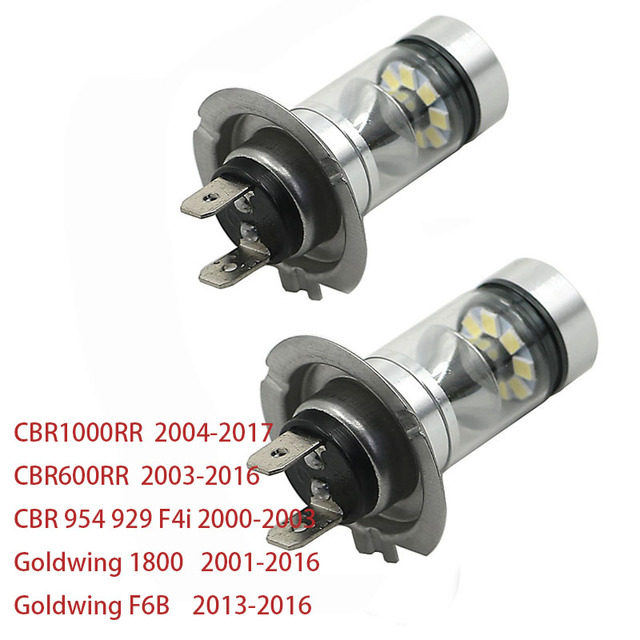 H7 LED Headlight Bulb White For Honda CBR600RR 03-16 CBR1000RR 04-17 Goldwing 1800 GL1800 01-16 CBR 954 929 F4i 00-03 F6B 13-16