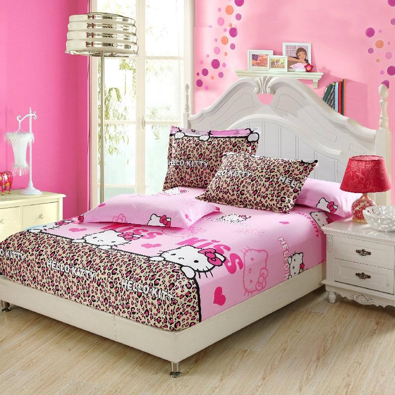 100% Katoen Leuke Cartoon Roze Wit Hello Kitty Dier Beddengoed Sets Hoeslakens Elastische Matras Kussensloop Plaid Twin Koning Maar Toch Niet Vulgair
