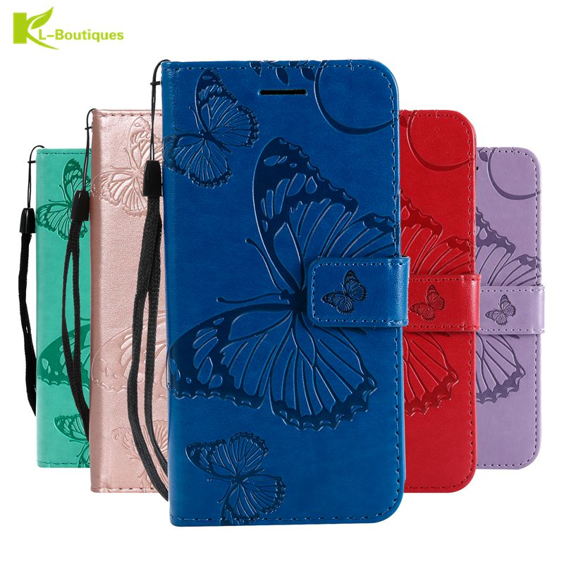 J6 Plus Case on for Samsung Galaxy J6 Plus Case Flip Leather 3D Butterfly Phone Case for Samsung J6 Prime Case Cover Coque