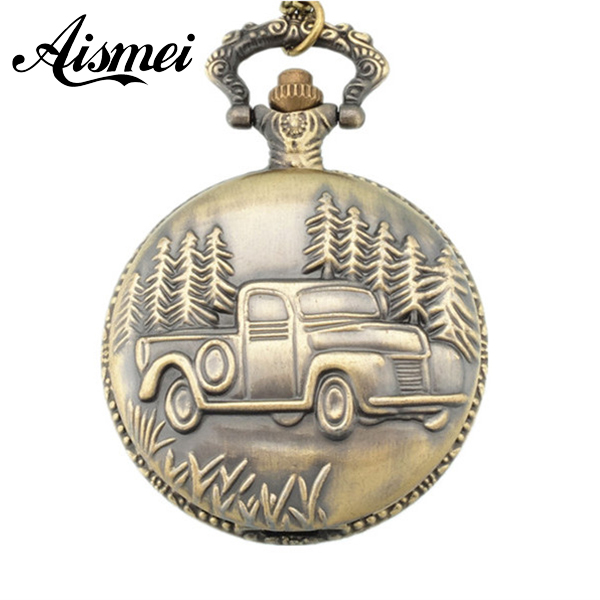 Antique Retro Bronze Car Truck Pattern Quartz Pocket Watch Necklace Pendant Gift With Chain for men and women gift  freeshipping unisex antique bronze camera design pendant pocket watch vintage quartz pocket watch with necklace gift for women