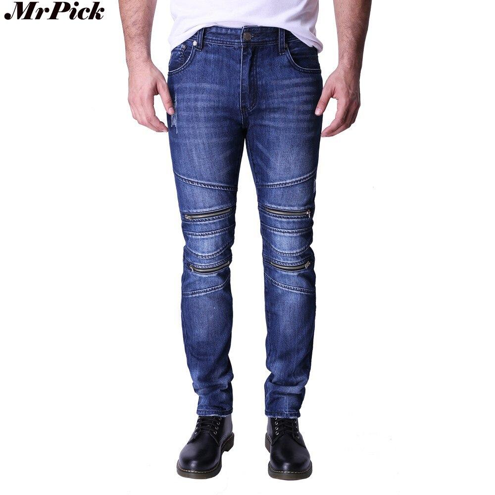 2017 Design Männer Jeans Slim Fit Fashion Motocycle Jeans Für Männer Reißverschlüsse Stil Jeans Y2032