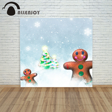backgrounds for photo studio christmas 10x10ft Gingerbread Man  Tree bokeh Snow xmas vintage fond newborns photo shoots