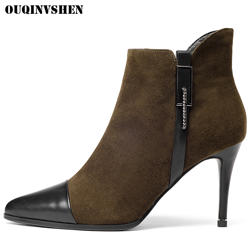 OUQINVSHEN Pointed Toe Thin Heels Women Boots Crystal Buckle Super High Heel Ladies Ankle Boots Zipper Short Plush Women's Boots 2016 custom made fashion brown short ankle boots for women pointed toe lace up platform thin heels stiletto ladies buckle boots