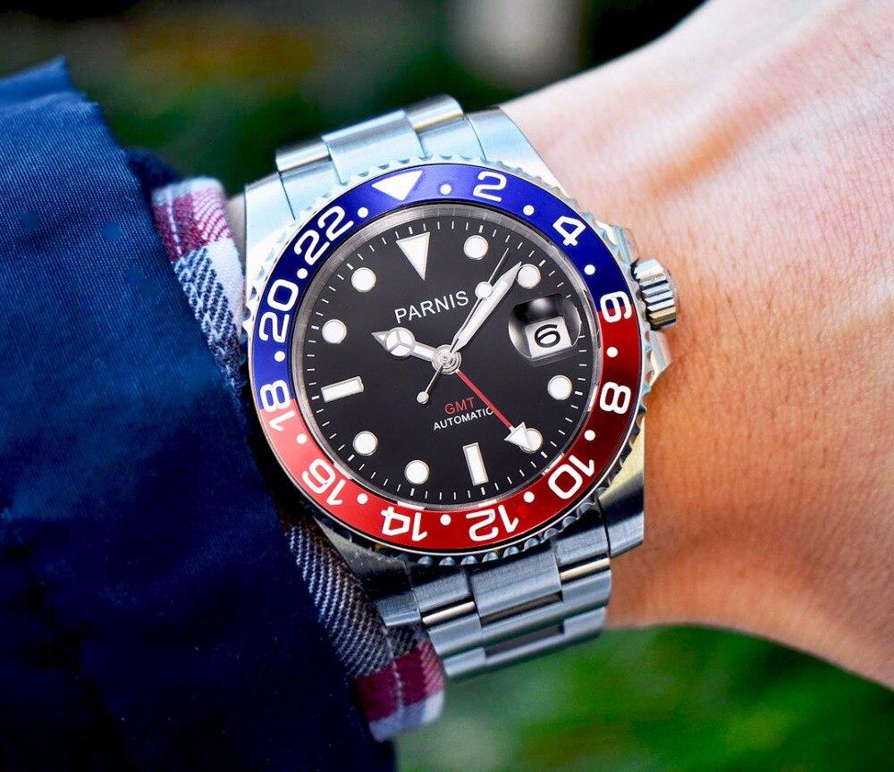 Parnis 40mm Mechanische Horloges GMT Sapphire Crystal Man Horloge 2018 Diver Horloge Automatische relogio masculino Rol Luxe Horloge Mannen-in Mechanische Horloges van Horloges op  Groep 2