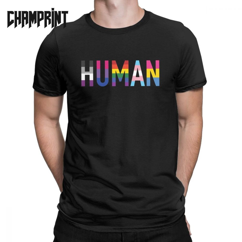 Men <font><b>T</b></font>-<font><b>Shirts</b></font> Human LGBT Novelty Pure Cotton Tees Short Sleeve Gay Pride Pansexual Asexual <font><b>Bisexual</b></font> <font><b>T</b></font> <font><b>Shirts</b></font> Clothing Classic image